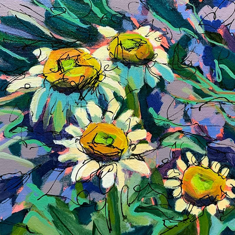 Daisy Days painting
