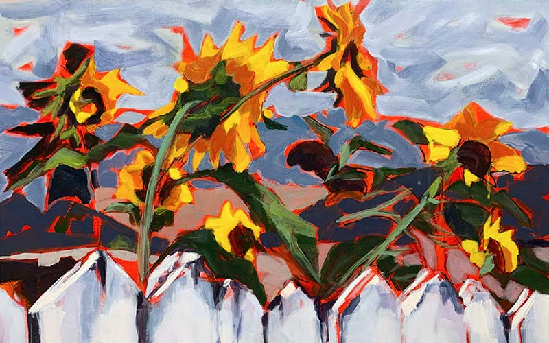Painting of sunflowers reaching up from behind a fence.