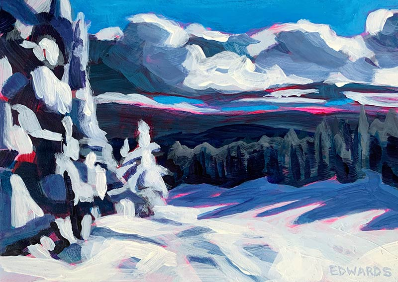 Indigo View painting of snowy landscape