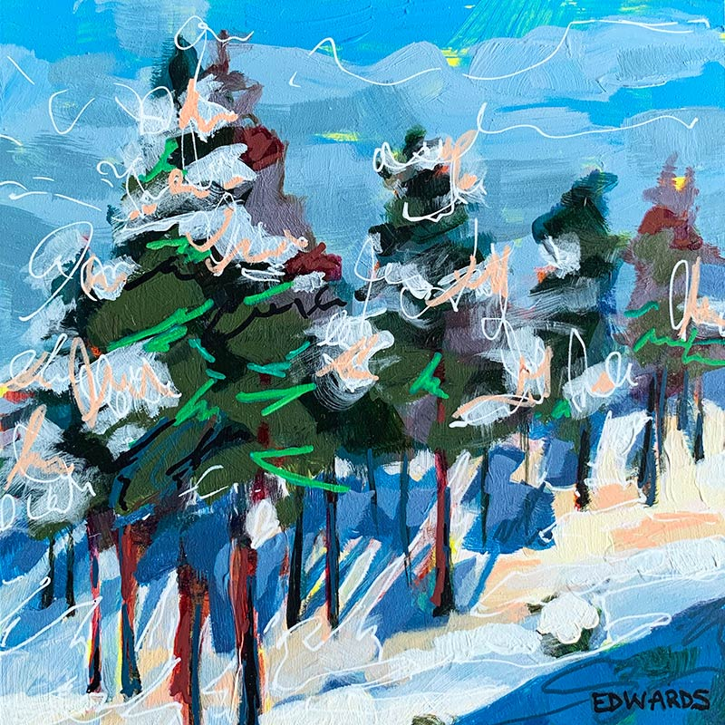 Winter Pines painting